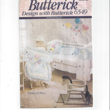 Butterick 6549 Pattern for Baby Room Crib Quilt, Head Bumper, Diaper Stacker, More, FACTORY FOLDED, UNCUT, Vintage Pattern, Cheri L. Strole