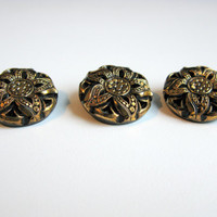 Czech Glass Button, Vintage Glass Buttons,