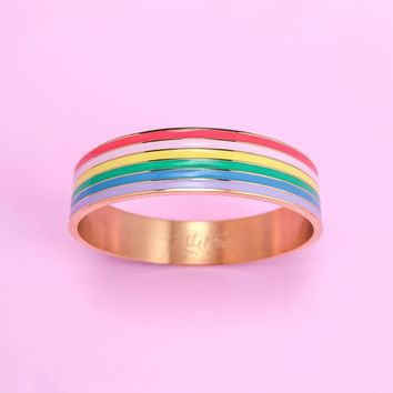 Rainbow Stripe Bangle Bracelet