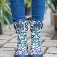 Joules Mid French Navy Posy Rain Boots
