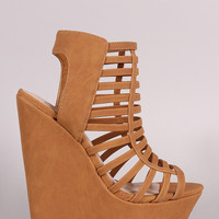 Delicious Strappy Cage Platform Wedge