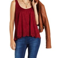 Dark Coral Laser-Cut Faux Suede Scalloped Hem Top by Charlotte Russe