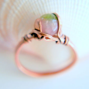 """Jade Ring  - """"Spring Rose Bud ring """"- candy jade - pink green jade - wire wrap  - Lemurian Diamond  - all sizes - copper"""