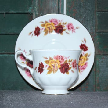 Queen Anne Bone China floral teacup and saucer, tea set, tea party