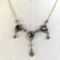 Art Deco Style Necklace Brass and Purple Glass by Pididdly Links Inc., 1920s Reproduction Bib Necklace, Feminine Vintage Jewelry