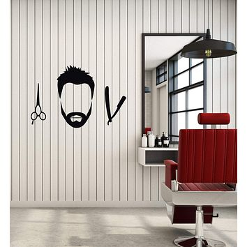 Vinyl Wall Decal Barbershop Hair Salon Barber Decor Interior Stickers Mural (ig5873)