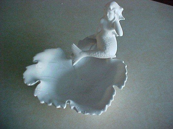 Leaf Soap Dish with Mermaid U Paint Bisque