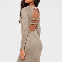Missguided - Grey Bonded Suede Buckle Back Midi Dress