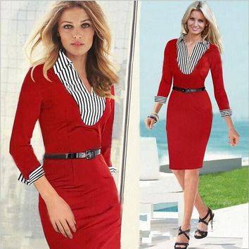 2014 Autumn Office Dresses Elegant Midi Fashion Women Work Dress Brand US Standard Design Business Party Sheath Pencil Dress = 1932751364