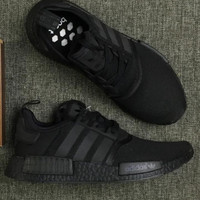 """Women """"Adidas"""" NMD Boost Casual Sports Shoes pure black (black logo)"""