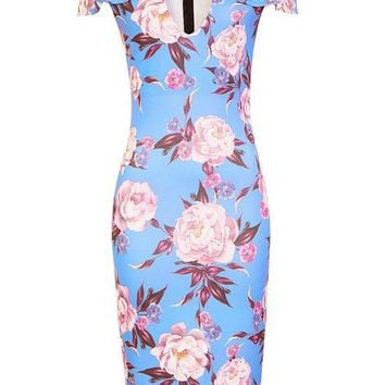 *Girls On Film Multi Print Bardot Bodycon Dress | Dorothyperkins