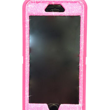 iPhone 6 Plus OtterBox Defender Series Case Glitter Cute Sparkly Bling Defender Series Custom Case  pink /pink
