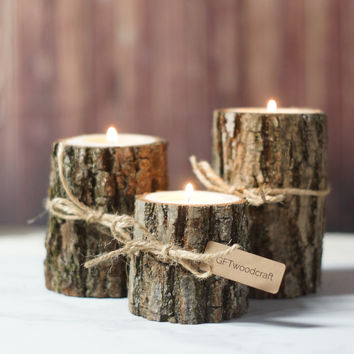 Twine Log Candle Holder Set of 3