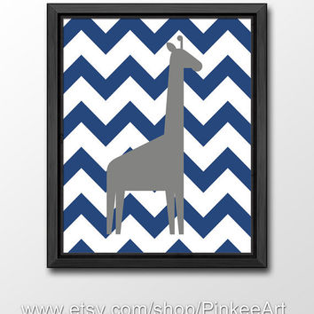 giraffe nursery chevron, baby nursery decor, kids art giraffe, safari kids wall art, nursery wall decor, childrens room art, kids room print