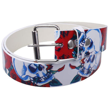 Skull & Roses Leather Belt