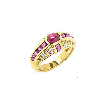 Ring 18k Yellow Gold 0.64 CT F VVS1 Cabochon Style Ruby 4.5 Grams Women's