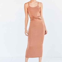 Glamorous Shimmer Knit Knotted Cutout Midi Slip Dress - Urban Outfitters