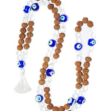 Crown Chakra Stone Buddhist Prayer Beads Mala Healing Necklace Japamala Rudraksha 108+1