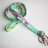Lanyard ID Badge Holder - Purple Love bliss - Lobster clasp and key ring