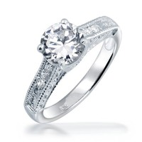 Bling Jewelry Sterling Silver 1.25ct CZ Vintage Style Engagement Ring