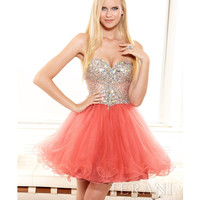 Terani 2014 Prom Dresses - Coral Mesh & Crystal Empire Waist Short Prom Dress