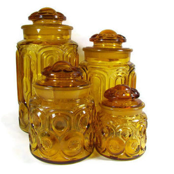 Amber Canister Set Moon and Stars Canisters Orange Yellow Glass Jars VINTAGE