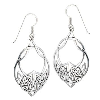 .925 Sterling Silver Unique Large Celtic Knot French Wire Earrings