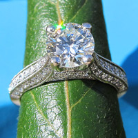 Round Diamond Engagement Ring - 14k white gold - 1.65 carats - wedding - custom made - bp032