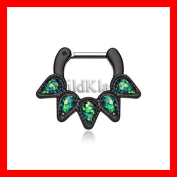 Black Septum Clicker Opal Black Quinary Spear 16g 14g Septum Ring Cartilage Earrings Nipple Ring Circular Barbell Tragus Jewelry Helix Conch