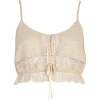 BEIGE CROPPED LACE CAMI TOP