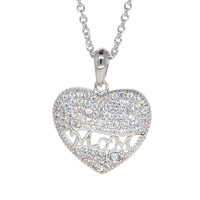 """White Gold Plated """"Mom"""" into Heart Pendant Necklace for Mother's Day"""