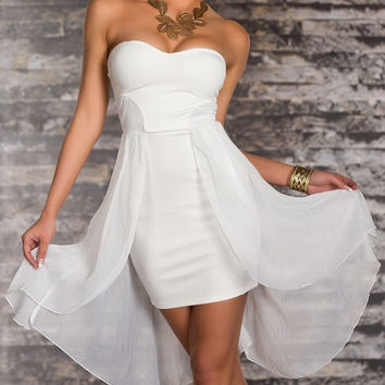 Strapless Sleeveless Layered Mini Dress