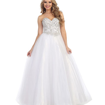 Preorder -  White Beaded Strapless Sweetheart Gown 2015 Prom Dresses