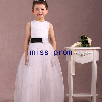 A-line soft tulle with black sash and flowers flower girl dress