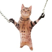 Adorable Brown Striped Tabby Kitty Cat Standing Up Shaped Pendant Necklace