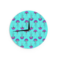 "Ivan Joh ""Turquoise Dance"" Teal Purple Wall Clock"