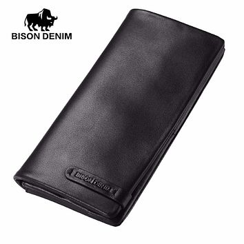 Male Cowhide Leather Long Wallet Slim Black Genuine Leather Mens Wallets ID Card Holder Dollars Thin Purse