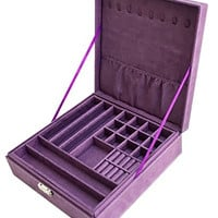 Sodynee Two-Layer Lint Jewelry Box with Lock, Purple