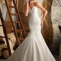 Mori Lee 1905 Strapless Lace Mermaid Wedding Dress