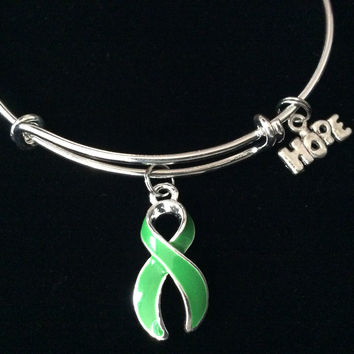 Green Awareness Ribbon Expandable Charm Bracelet Adjustable Bangle Gift (Other Awareness Ribbons Available)Green Awareness Charm on a silver plated Bangle Silver Plated Bangle Lyme Disease Cerebral Palsy Kidney Cancer