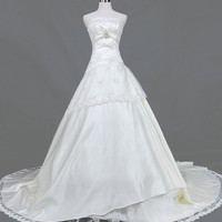 A-line Strapless Cathedral Train Satin Tulle Lace Wedding Dresses With Embroidery Beading Free Shipping