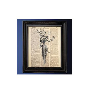 Vintage Cthulhu Gentleman, Dictionary Print, Book Art Print, Recycled, Upcycled, Vintage Dictionary Book Page, Goth Decor, Geeky Gift