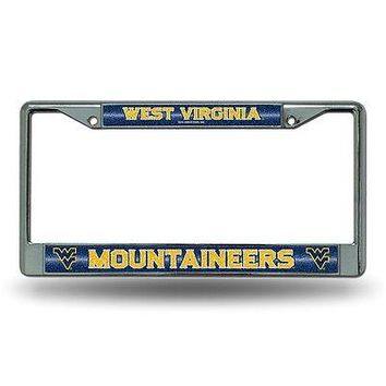 West Virginia Mountaineers NCAAGlitter Bling Chrome Auto License Plate Frame