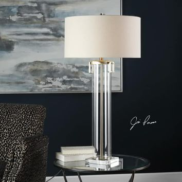 Uttermost Monette Brushed Nickel Tall Cylinder Table Lamp | Overstock.com Shopping - The Best Deals on Table Lamps
