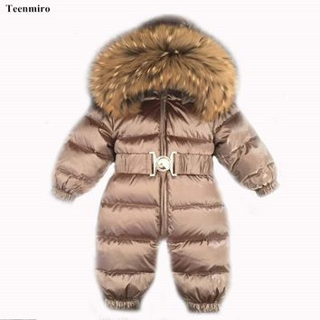 Newborn Baby Clothes Winter Snowsuit Infant Duck Down Jumpsuit Toddler Romper Fur Baby Onesuit Kids Parka Coveralls Girl Overall