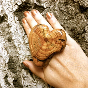 Wooden extra big ring unique statement wood jewelry adjustable oversized rings