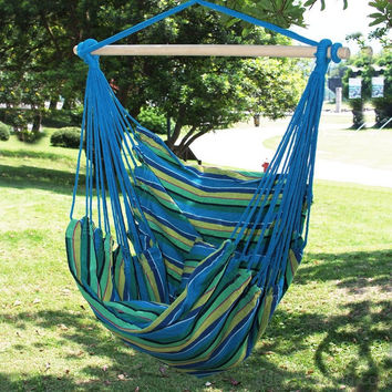 Naval-Style Cotton Fabric Canvas Hammock Tree Hanging Suspen Hammock Tree Hanging Suspended Outdoor Indoor Chair Oasis/ Blue Green Color  17 inches Wide Seat