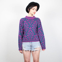 Vintage 80s Sweater New Wave Bright Teal Pink Paisley Print Jumper 1980s Sweater Cosby Sweater Baroque Print Mod Pullover S Small M Medium