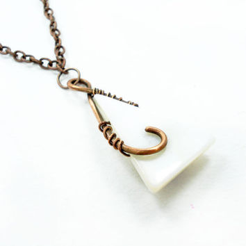 Triangular necklace, wire wrap necklace, white necklace, white jewelry, copper wire jewelry , wire wrapping necklace, mother of pearl, ooak