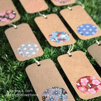 45 Personalized Escort Card/ Kraft Brown Paper Hang Tag with Japanese Motif - Custom Made to Match Your Color/ Style/ Theme - Rustic Wedding